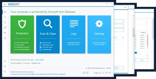 Emsisoft Anti-Malware Captures d'écran EN