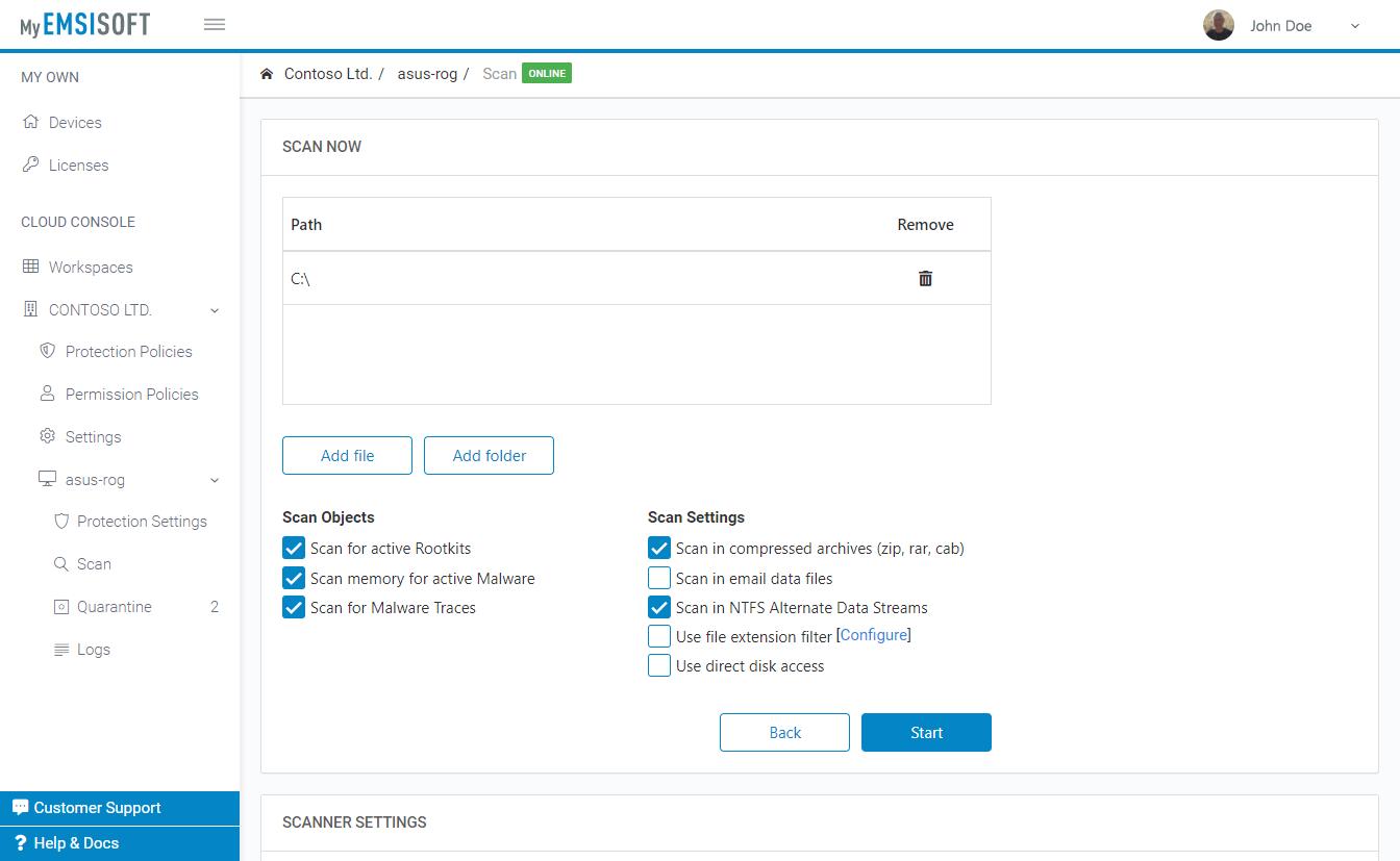 Custom scan panel
