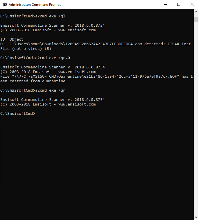 Screenshot der Befehlszeilen-Quarantäne
