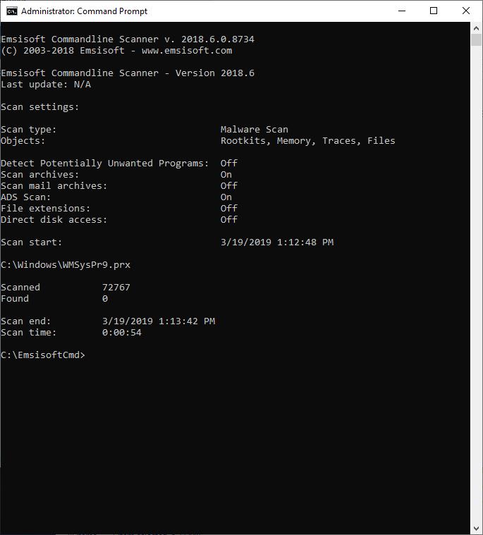 Screenshot des Befehlszeilen-Scans